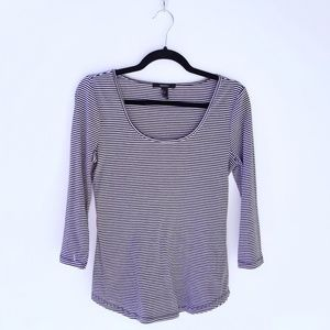 Forever 21 ribbed striped 3/4 sleeve top